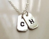 Mini Dog Tags Necklace, Sterling Silver Hand Cut Dog Tags, Hand Stamped Initials, Personaized Initial Necklace