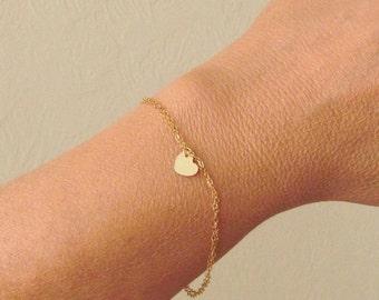 Tiny Gold Filled Heart Bracelet, 14KT Gold Filled Heart Charm, Delicate Double Chain Bracelet