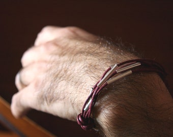 for him - metal and waxed burgundy cotton - wine and silver- men and unisex bracelet