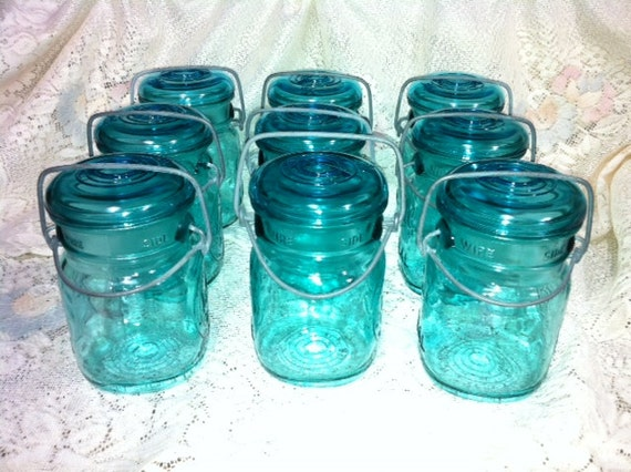 Beautiful Blue-Green Ball Bicentennial Jars With Holders And Glass Lids And Rubber Seals Great For Lights