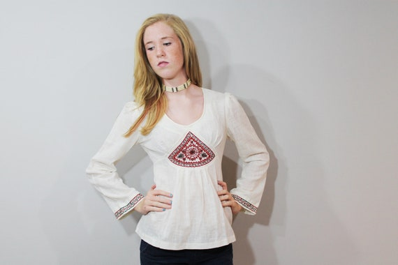 70s Embroidered Blouse Top Shirt Hippie Boho Empire Waist Long Sleeve Medium M 1970s Ivory