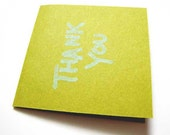 Thank You Blank Mini Cards 2 x 2 Green Cardstock Green Ink(5)