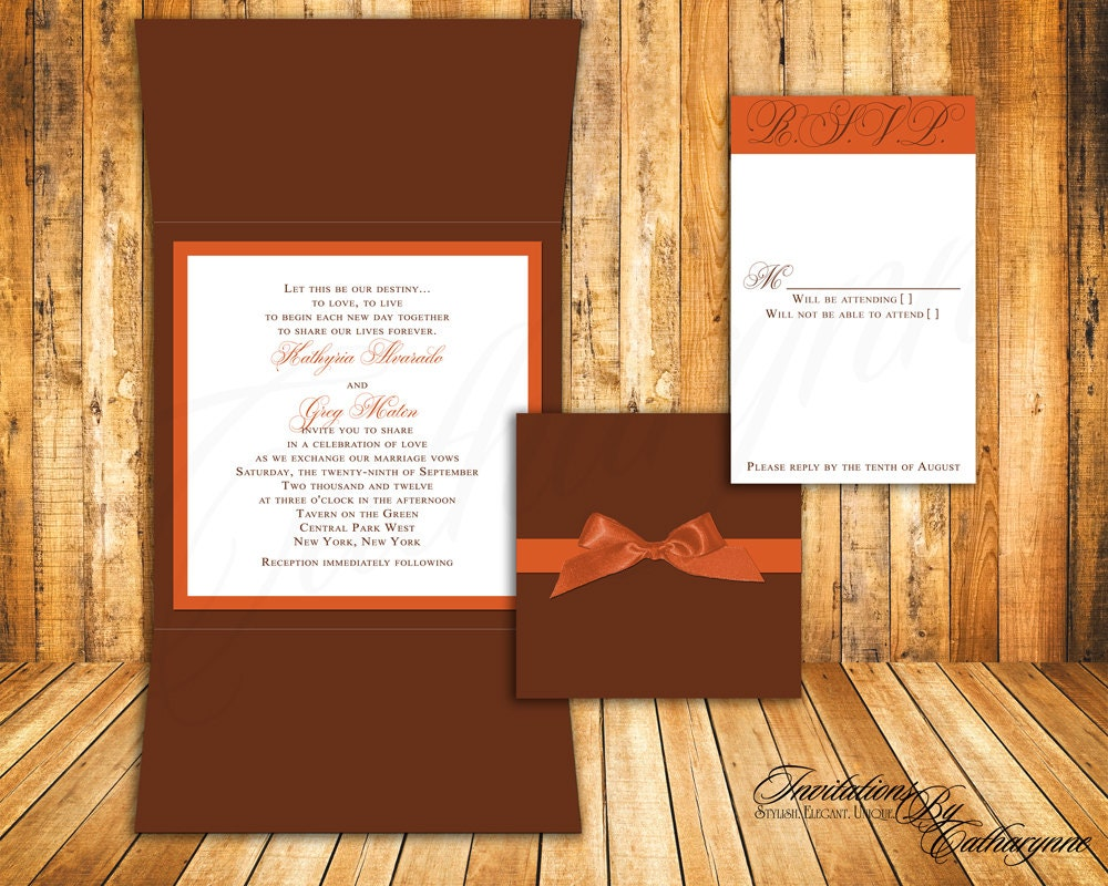 burnt orange wedding invitation cards fall wedding invitations Fall Wedding Invitations In Orange And Brown