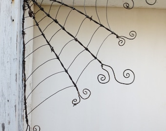 "18"" Odd Twisted Barbed Wire Corner Spider Web Reclaimed Art"