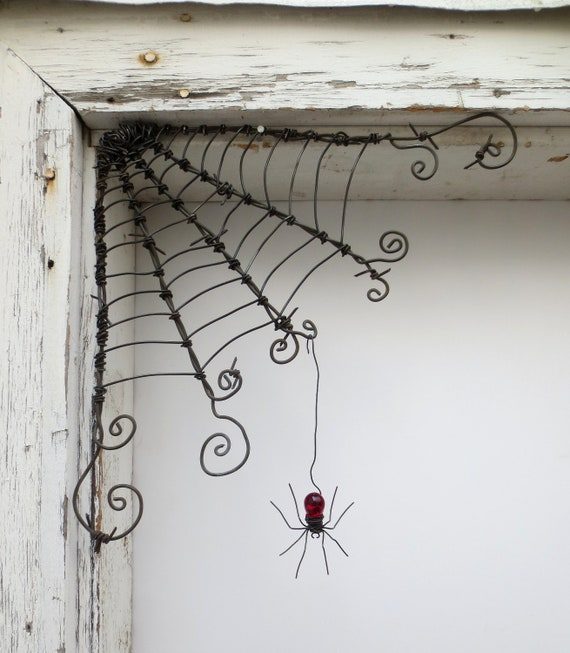 "Czechoslovakian Red Spider Dangles From 12""  Barbed Wire Corner Spider Web Made To order"