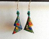Blue Floral Elegant Triangles Origami Earrings