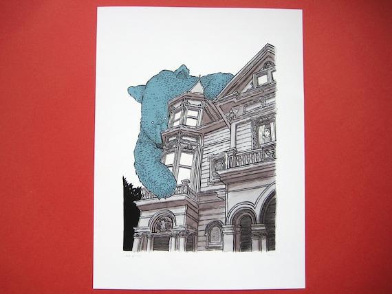 The Giant Bear on Haight limited edition giclée print