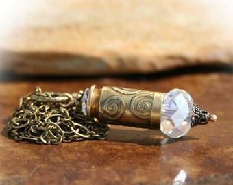 Bullet Necklace, 40 Caliber Casing, Etched, Vintage Effect