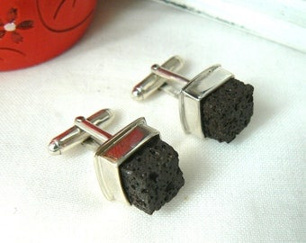 Sterling silver and Lava Rock Cuff links