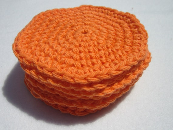 Cotton Facial Cloths or Make Up Removers Facial Scrubbies in Orange