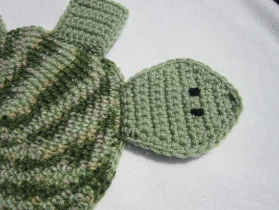Turtle Pot Holder in Shades of Green and Tan Crochet