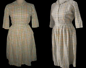 1950s 50s 2 piece skirt shirt set gingham western top summer day outfit Medium Small
