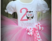 Owl Birthday Tutu Outfit in Pinks