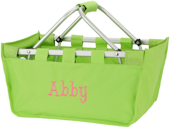 Personalized Collapsible Large Market Basket (LIME GREEN)