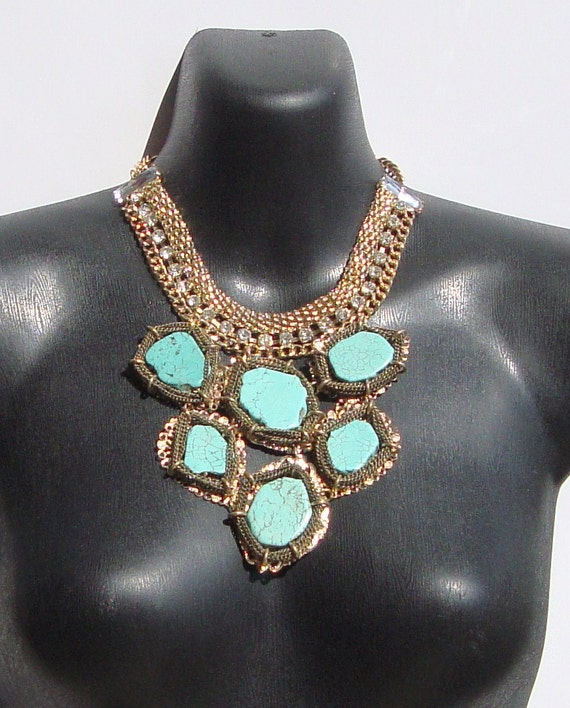 Puzzled- Turquoise Slab Bib Necklace by Ashlee Collection on Etsy