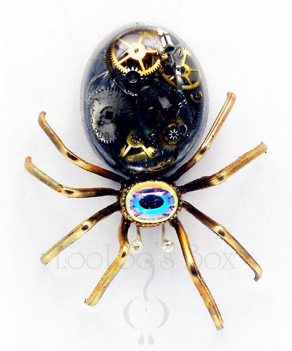 Victorian Steampunk SPIDER Pin ArachneMachina Brooch Resin Cabochon Clear AB Rhinestone Cabochon NUMBERED Pin0022 by Robin Delargy