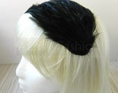 Tuxedo Black  feather fascinator headband, comb, elastic band, or hair clip - fascinator millinery supply blank base