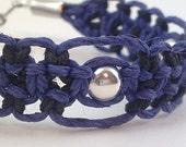 Dark Blue and Black Hemp Bracelet with Silver Beads