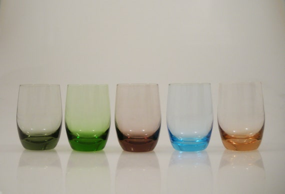 Vi n t a g e Mixed Coloured Low Ball Rocks Glasses Bar Ware Set of 5