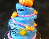12th Scale Doll House 3 Tiered Halloween Pumpkin Wonky Cake
