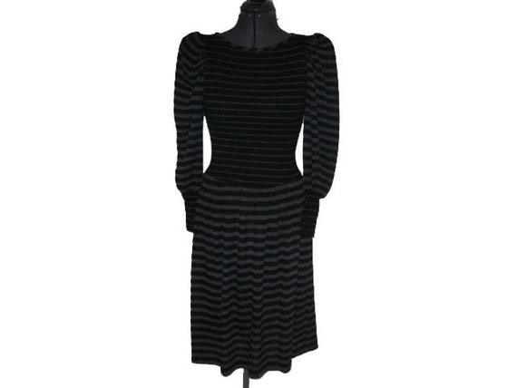 Vintage Black and Gray Stripe Puff Sleeve Sweater Dress S/M