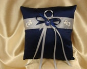 Navy Blue and Silver Ring Bearer Pillow with Air Force Deco