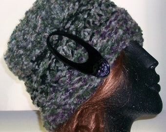 HAT WOMEN KNITTED  Beehive Comfortable To  Wear Warm Gift Hand knit Hat  Open on top  Hair clip included