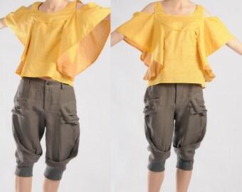 yellow cotton linen strapless t-shirt cotton vest