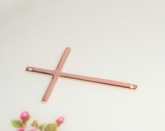 Skinny Sideways Cross Connector, Rose Gold plated Sterling Silver , 4 pcs, 28x17mm