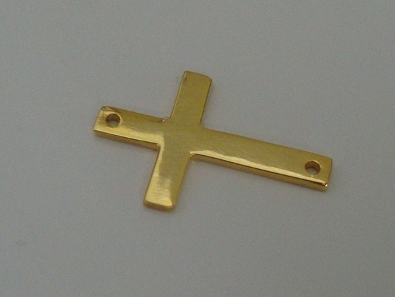 24K Gold Vermeil Sideways Cross, 4 pcs, 19x12mm