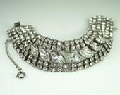Vintage Weiss Bracelet  Wide Clear Rhinestone Bridal Jewelry