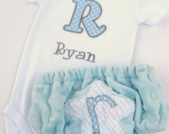 Personalized Embroidered Initial Bodysuit and Diaper Cover Set- Baby Boy set- Minky Diaper Cover Set-- Any Fabric