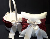 Claret Apple Red & Ivory or White Wedding Ring Bearer Pillow, Flower Girl Basket 2 Piece Set