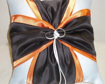 Orange and Brown White or Ivory Wedding Ring Bearer Pillow