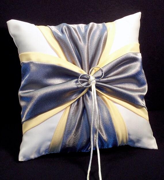 Yellow & Pewter Grey White or Ivory Wedding Ring Bearer Pillow