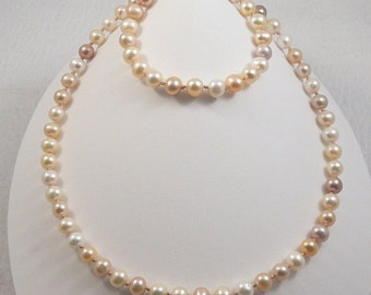 4 pc peaches 'n cream freshwater pearl jewelry set necklace bracelet 2 pairs earrings sterling silver knotted on silk