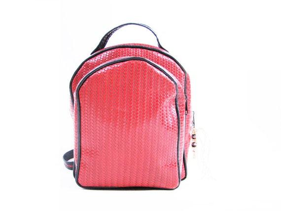 Vintage Red WOVEN Leather Backpack // Ethnic Backpack / Shoulder Bag / Medium
