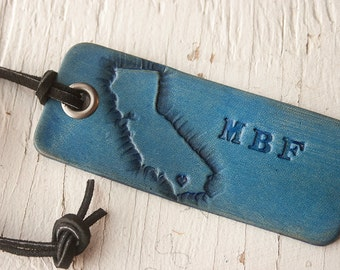 Love California - personalized travel Luggage tag - Heart or Star on your city in California - key ring or suede cord