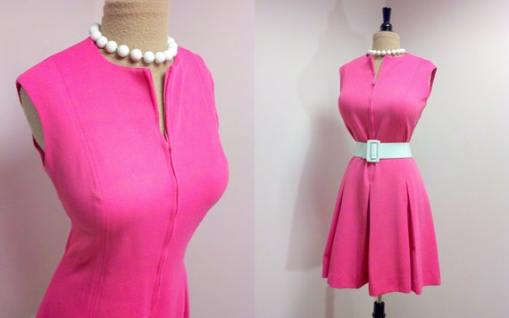 Vintage 1970s Plus Size Dress . Vintage Hot Pink Dress . Paul of California . 2X