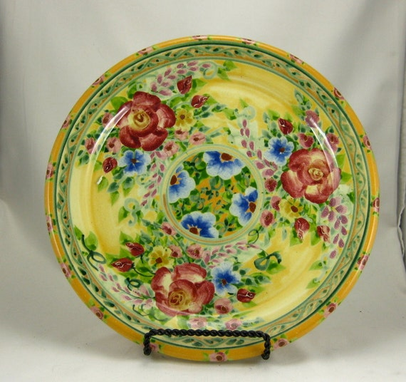 """Yellow 10"""" handmade porcelain dinner plate with red roses"""