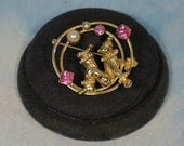 Vintage Whimsical Circus Clown Brooch Pin, 50s 60s, Pink Rhinestones, Faux Pearls