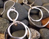 Silver and Gold Circle Dangle Earrings