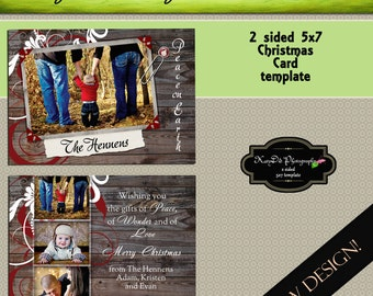 INSTANT DOWNLOAD Christmas card template Christmas in the Pines 5x7 psd file , customized , personalized Holiday card