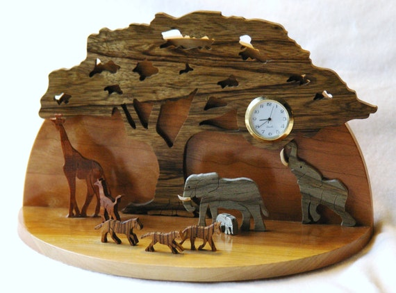 African Design Clock Wooden Animal Clock Elephant Giraffe