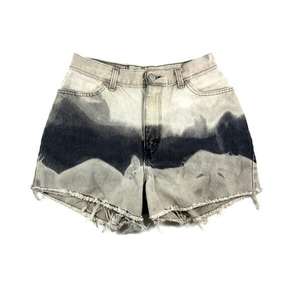 28w / CUSTOM STUDDED Shorts / Hipster High Waist Ombre Shorts / 0015SH