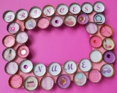 Girls Princess Customized Pink and Purple Bottle Cap Picture Frame