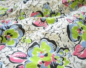 Vintage Green and Gray Floral Skirt Reclaimed Fabric Remnants