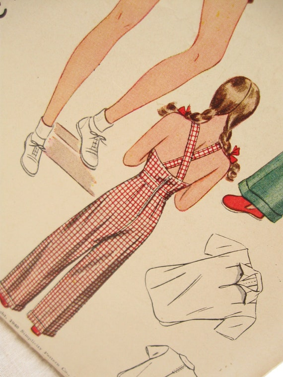 Girl's Bib Overalls and Blouse Vintage Sewing Pattern: Simplicity 3324, Bust 32