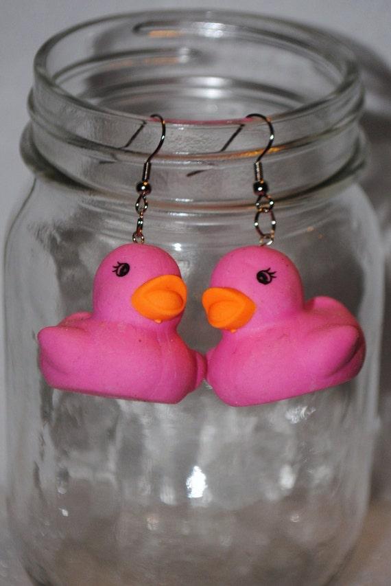 Pink Duck Eraser Earrings