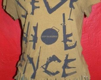 Stop Violence Anti Gun Peace Nik  Upcycled T Shirt Fringe Small Medium